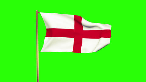 England flag waving in the wind. Looping sun rises style. Animation loop. Green  Animation