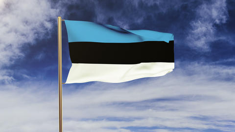 Estonia flag waving in the wind. Looping sun rises style.... Stock Video Footage