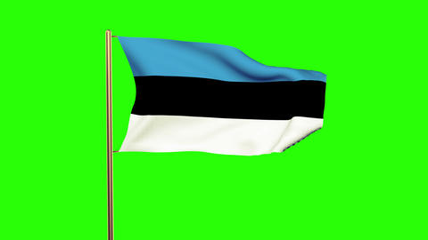 Estonia flag waving in the wind. Looping sun rises style. Animation loop. Green  Animation