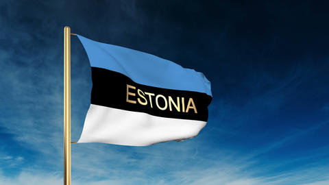 Estonia flag slider style with title. Waving in the wind... Stock Video Footage