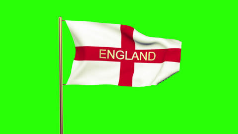 England flag with title waving in the wind. Looping sun rises style. Animation l Animation
