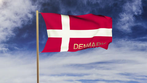 Denmark flag with title waving in the wind. Looping sun... Stock Video Footage