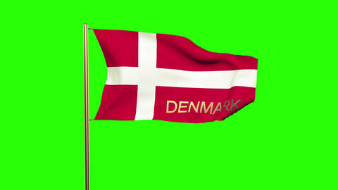 Denmark flag with title waving in the wind. Looping sun rises style. Animation l Animation