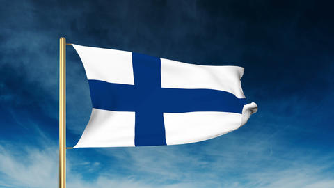 Finland flag slider style. Waving in the wind with cloud background animation Animation
