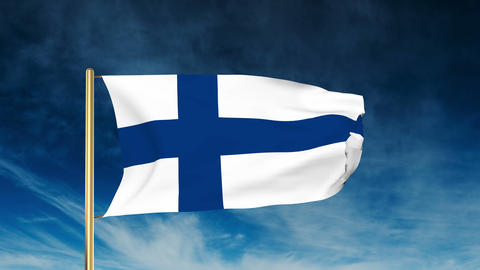 Finland flag slider style. Waving in the wind with cloud... Stock Video Footage