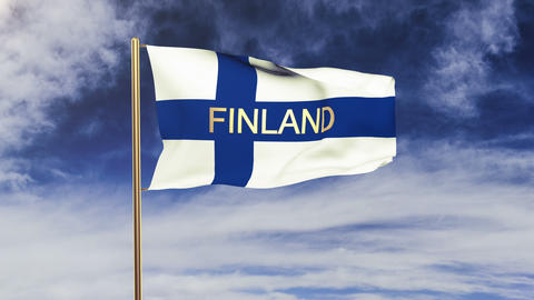 Finland flag with title waving in the wind. Looping sun... Stock Video Footage