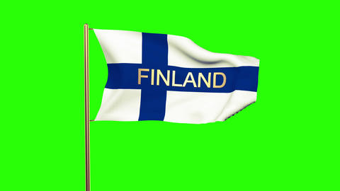 Finland flag with title waving in the wind. Looping sun rises style. Animation l Animation