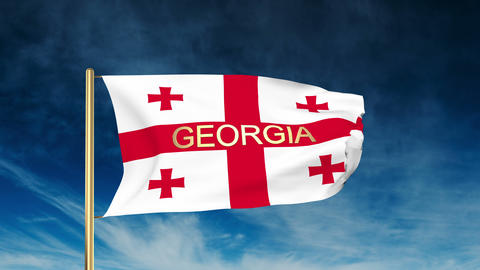Georgia flag slider style with title. Waving in the wind... Stock Video Footage