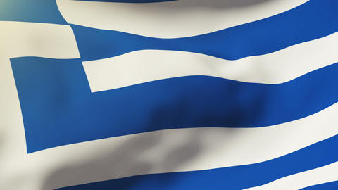 Greece flag waving in the wind. Looping sun rises style.... Stock Video Footage