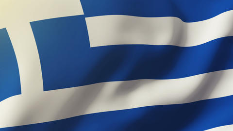 Greece Flag Waving In The Wind. Looping Sun Rises Style. Animation Loop stock footage