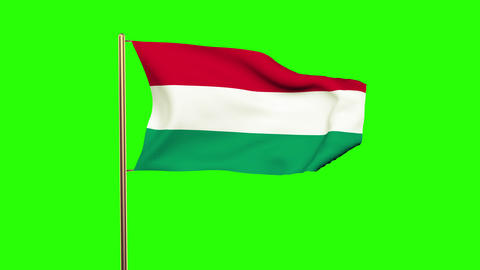 Hungary flag waving in the wind. Looping sun rises style. Animation loop. Green  Animation