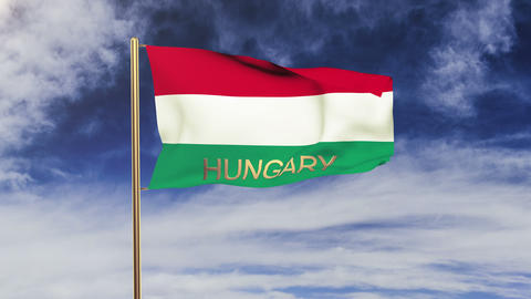 Hungary flag with title waving in the wind. Looping sun... Stock Video Footage