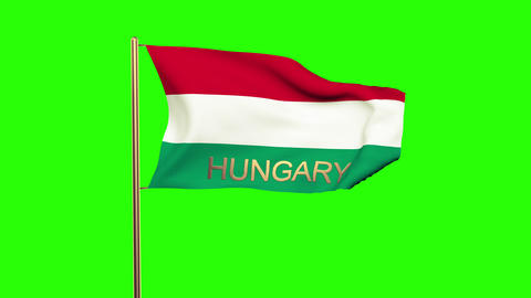 Hungary flag with title waving in the wind. Looping sun rises style. Animation l Animation