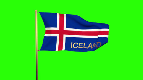 Iceland flag with title waving in the wind. Looping sun rises style. Animation l Animation