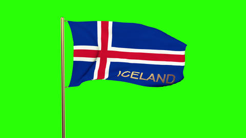 Iceland flag with title waving in the wind. Looping sun... Stock Video Footage
