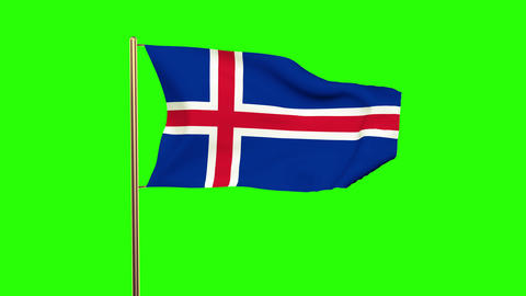 Iceland flag waving in the wind. Looping sun rises style. Animation loop. Green  Animation