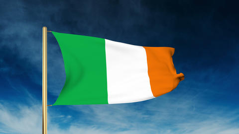 Ireland flag slider style. Waving in the wind with cloud background animation Animation