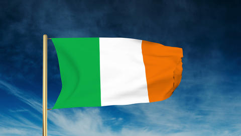 Ireland flag slider style. Waving in the wind with cloud... Stock Video Footage