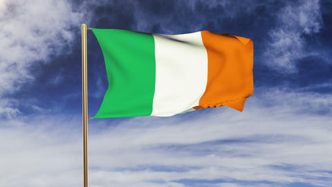 Ireland flag waving in the wind. Looping sun rises style.... Stock Video Footage
