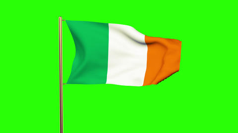 Ireland flag waving in the wind. Looping sun rises style. Animation loop. Green  Animation