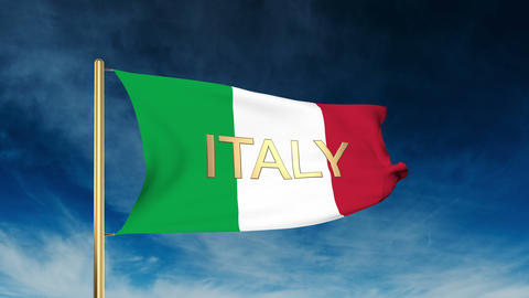 Italy flag slider style with title. Waving in the wind with cloud background ani Animation