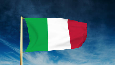 Italy flag slider style. Waving in the wind with cloud... Stock Video Footage