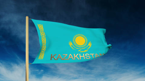 Kazakhstan flag slider style with title. Waving in the wind with cloud backgroun Animation