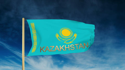 Kazakhstan flag slider style with title. Waving in the... Stock Video Footage
