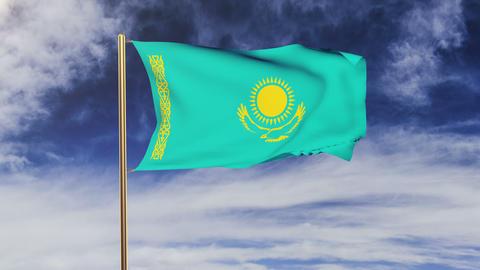 Kazakhstan flag waving in the wind. Looping sun rises... Stock Video Footage