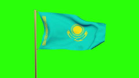 Kazakhstan flag waving in the wind. Looping sun rises style. Animation loop. Gre Animation