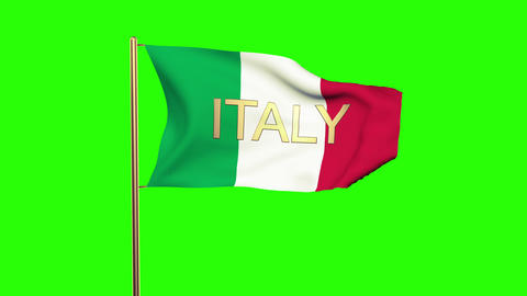 Italy flag with title waving in the wind. Looping sun rises style. Animation loo Animation