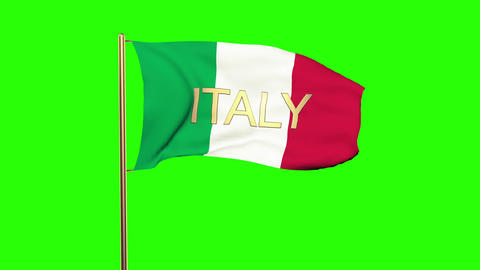 Italy flag with title waving in the wind. Looping sun... Stock Video Footage