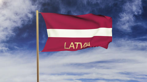 Latvia flag with title waving in the wind. Looping sun... Stock Video Footage