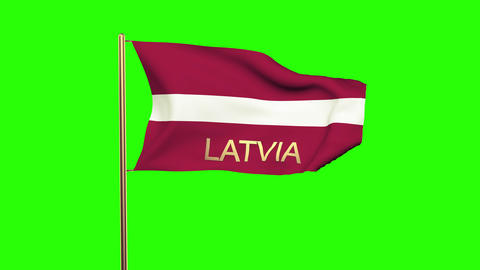 Latvia flag with title waving in the wind. Looping sun rises style. Animation lo Animation