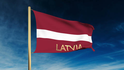 Latvia flag slider style with title. Waving in the wind... Stock Video Footage