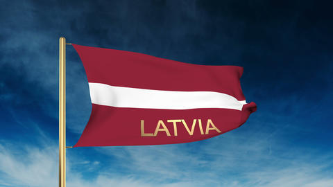 Latvia flag slider style with title. Waving in the wind with cloud background an Animation