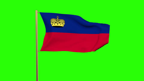 Liechtenstein flag waving in the wind. Looping sun rises style. Animation loop.  Animation