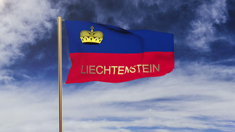 Liechtenstein flag with title waving in the wind. Looping... Stock Video Footage