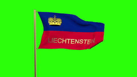 Liechtenstein flag with title waving in the wind. Looping sun rises style. Anima Animation