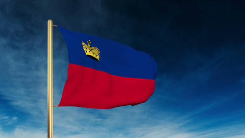 Liechtenstein flag slider style. Waving in the wind with... Stock Video Footage