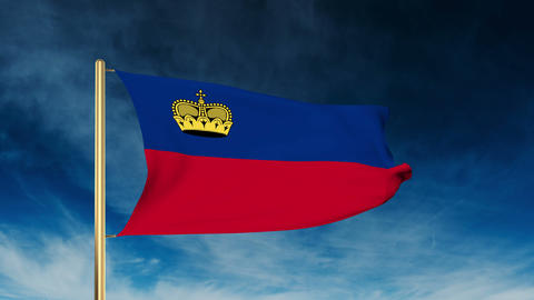 Liechtenstein flag slider style. Waving in the wind with cloud background animat Animation