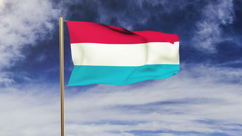 Luxembourg flag waving in the wind. Looping sun rises... Stock Video Footage