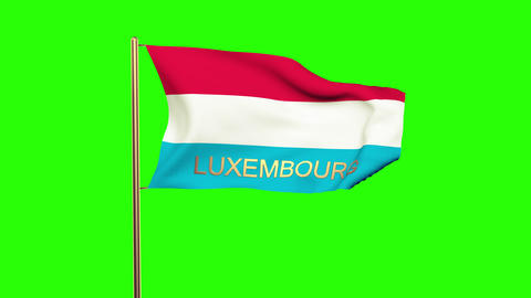 Luxembourg flag with title waving in the wind. Looping sun rises style. Animatio Animation