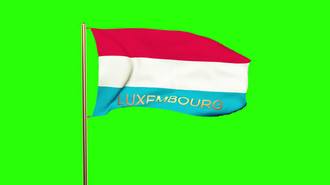 Luxembourg flag with title waving in the wind. Looping... Stock Video Footage
