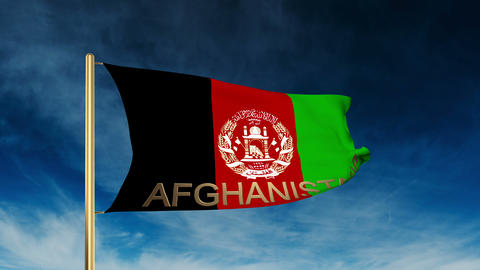 Afghanistan flag slider style with title. Waving in the wind with cloud backgrou Animation