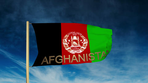Afghanistan flag slider style with title. Waving in the... Stock Video Footage