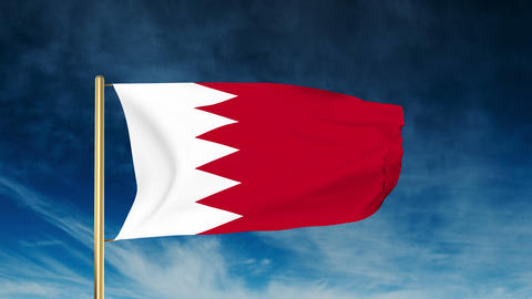 Bahrain flag slider style. Waving in the win with cloud... Stock Video Footage