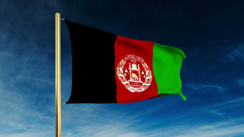 Afghanistan flag slider style. Waving in the win with... Stock Video Footage