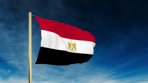 Egypt flag slider style. Waving in the win with cloud... Stock Video Footage