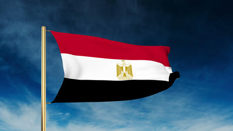 Egypt flag slider style. Waving in the win with cloud background animation Animation